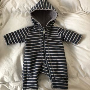 Hannah Andersson fleece lined striped suit